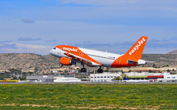Easyjet. An Easyjet aeroplane just taken off fromSpains Alicante Airport royalty free stock photos