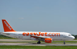 Easyjet Airbus A320. Taxiing at Manchester Airport stock images