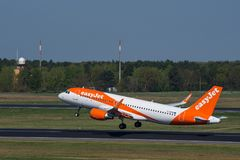 Easyjet Airbus A320 at Berlin Tegel airport royalty free stock photo