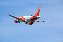 EasyJet Airbus. CORFU, GREECE - JUNE 5, 2016: EasyJet Airbus A319 takes off from Corfu International Airport, Greece. With 65 million passengers carried in 2014 royalty free stock photography
