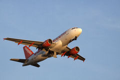 Easyjet airbus flying to the sun. Stock Photo