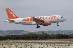 Easyjet Airbus Landing - Airplane, Faro, Portugal Stock Photos