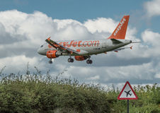 Easyjet Airbus A319. Easyjet Airbus landing at Newcastle airport stock photo