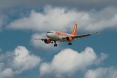Easyjet Airbus. Landing at Newcastle airport royalty free stock photo