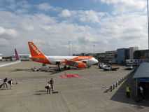 EasyJet Airbus A319 parked in London Luton Stock Photography