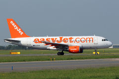 EasyJet Airbus A319-111. PRAGUE, CZECH REPUBLIC - JUNE 19: EasyJet Airbus A319-111 ready for takes off from PRG Airport on June 19,2013. Easyjet is the second Royalty Free Stock Image