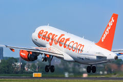 Easyjet Airbus A319 take-off. Closeup of an Easyjet Airbus A319 taking off royalty free stock image