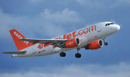 Easyjet airbus a319. Taking off from Manchester airport royalty free stock image