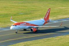 Easyjet Airbus A320 taxiing. On a taxiway stock images