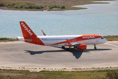 EasyJet aircraft. Taxiing before the take off at the international airport at Corfu Island, Greece royalty free stock photography