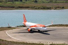 EasyJet aircraft. Taxiing before the take off at the international airport at Corfu Island, Greece royalty free stock image