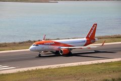 EasyJet aircraft. Taxiing before the take off at the international airport at Corfu Island, Greece stock photo