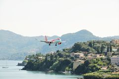 EasyJet aircraft landing. At the international airport at Corfu Island, Greece stock photo