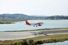 EasyJet aircraft landing. At the international airport at Corfu Island, Greece royalty free stock image