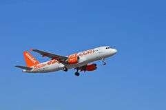 Easyjet. Aircraft proudly displaying one of the budget airlines new destinations royalty free stock image
