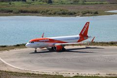 EasyJet aircraft. Taxiing before the take off at the international airport at Corfu Island, Greece royalty free stock images