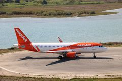 EasyJet aircraft. Taxiing before the take off at the international airport at Corfu Island, Greece stock image