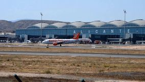 Easyjet Aircraft Taxing At Alicante Airport stock video footage