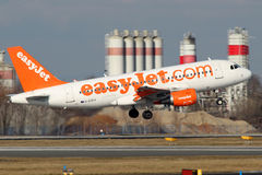 EasyJet Airline. PRAGUE, CZECH REPUBLIC - FEBRUARY 05: EasyJet Airline Airbus A319-111 takes off from PRG Airport on February 05, 2015. Easy Jet is a British Stock Images