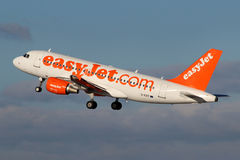 EasyJet Airline. PRAGUE, CZECH REPUBLIC - JANUARY 12: EasyJet Airline Airbus A319-111 takes off from PRG Airport on January 12, 2014. EasyJet is the low cost Royalty Free Stock Photography