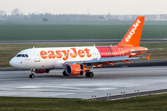 EasyJet Airline. PRAGUE, CZECH REPUBLIC - MARCH 29: EasyJet Airline Airbus A319-111 lands at PRG Airport on March 29, 2014. EasyJet is the second-largest low Royalty Free Stock Photography