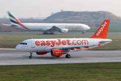 EasyJet Airline. PRAGUE, CZECH REPUBLIC - MARCH 29: EasyJet Airline Airbus A319-111 lands at PRG Airport on March 29, 2014. EasyJet is the second-largest low Stock Photos