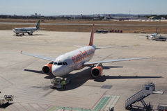 An EasyJet airliner at the airport in Valencia, Spain. Royalty Free Stock Image