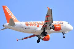 Easyjet airlines airbus flight airline international flight alicante Royalty Free Stock Photography
