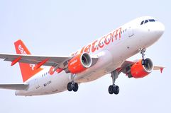 Easyjet airlines airbus flight in sky in aproximation maniobre to the airport Royalty Free Stock Photography