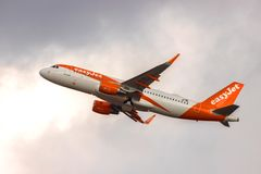 Easyjet airplane starting from cologne bonn airport germany. Cologne, North Rhine-Westphalia/germany - 08 03 19: easyjet airplane starting from cologne bonn stock image