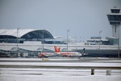 EasyJet and Alitalia planes at terminal gates in Munich Airport, snow Royalty Free Stock Images