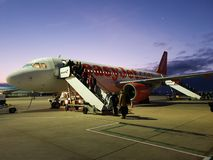 EasyJet A320. Boarding for an early morning flight from Bristol royalty free stock photography