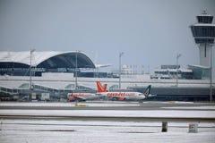 EasyJet et Alitalia surface aux portes terminales dans l'aéroport de Munich, neige Images libres de droits