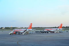 Easyjet plains at Barcelona Airport Stock Photography
