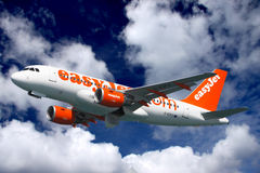 Easyjet plane takes off. From Gibraltar airport. I use an ultra high quality CANON L SERIES lens to provide you the buyer with the highest quality of images stock photography