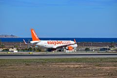 Easyjet By The Sea At Alicante Airport. The low cost airline next to the Mediterranean at Spains Costa Blanca Airport stock photo