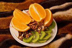 Eat. Healthy and delicious fruit dinner stock image