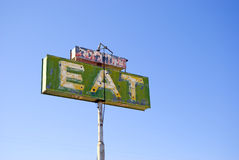 Eat. Old cafe sign with the word eat by pearsonville california.usa Royalty Free Stock Images