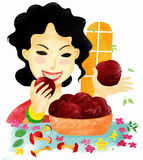 Eat an apples. The woman with tooth power eat an apples stock illustration