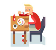 Eat breakfast coffee table chair guy fried eggs Isolated Icon Flat Design Character Vector Illustration Stock Photo