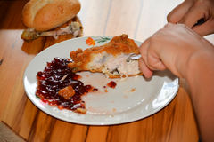 Eat chicken royalty free stock photography