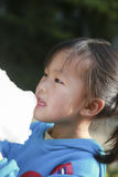 Eat the Chinese female of cotton candy 03. Chinese woman eating cotton candy in the park Stock Image