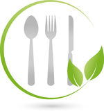 Eat cutlery and leaves, restaurant and vegan logo Stock Photos