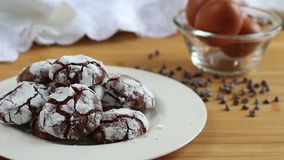 Eat a delicious dark chocolate crinkle cookies. Eat a fantastic dark chocolate crinkle cookies, soft and delicious. Irresistible temptation stock video footage