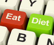 Eat Diet Keys Showing Fiber Exercise Fat And Calories Advice Onl Royalty Free Stock Photography