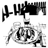Eat at dinner - fish and wine. Hand  drawing, no trace, on white Royalty Free Stock Image