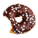 Eat the donut. Delicious tasty donut with a missing bite isolated over a white background Royalty Free Stock Photography