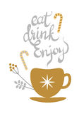 Eat Drink Enjoy Banner with Golden Decorated Tea Stock Photography