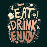 Eat, drink, enjoy. Doodle hand drawn colorful text with elements. royalty free illustration