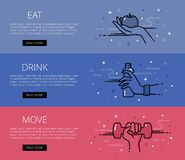 Eat. Drink. Move. Line vector web banners set Royalty Free Stock Photos